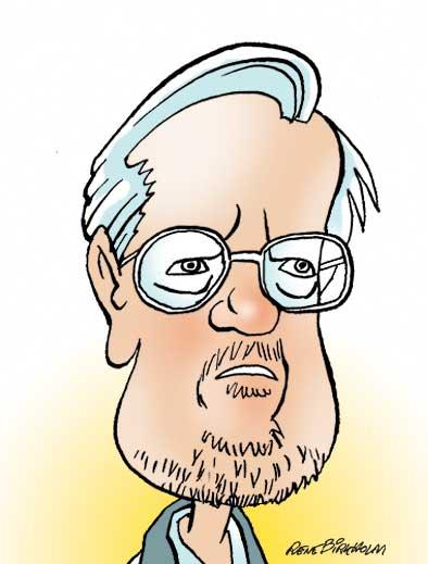 Karikaturtegning af politiker Per Stig Møller. Illustration René Birkholm