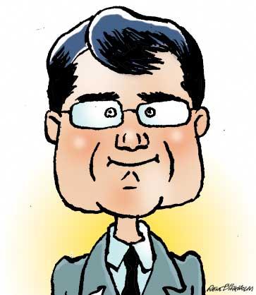 Karikaturtegning af politiker Brian Mikkelsen. Illustration René Birkholm