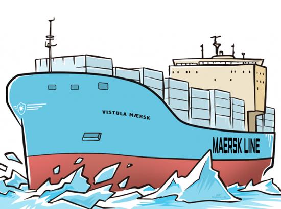 Mærsk containerskib og isbryder illustration Rene Birkholm Danmark Fyn tegneren.dk alias rebi