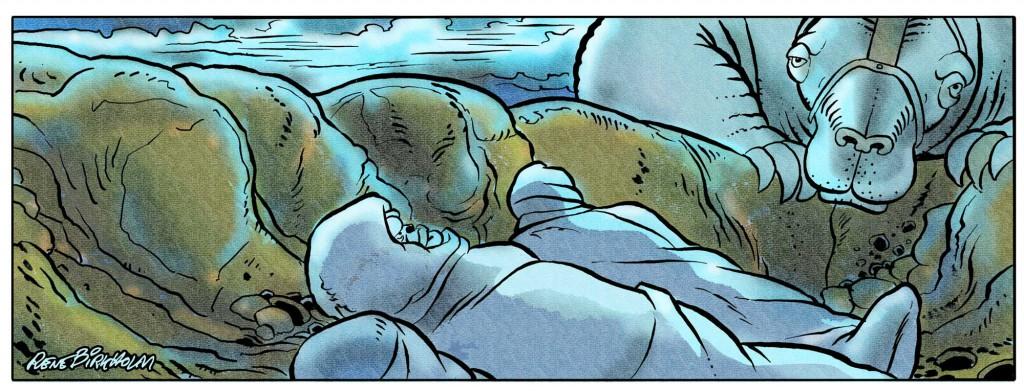 Illustration fra tegneseriealbummet Rugemødrene på Raktus.