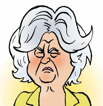 Karikaturtegning af politiker Birthe Rønn Hornbech. Illustration René Birkholm