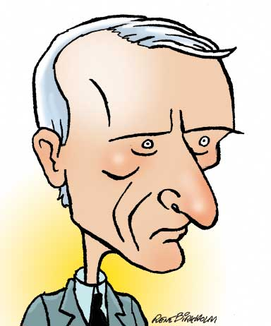 Karikaturtegning af politiker Bertel Haarder. Illustration René Birkholm