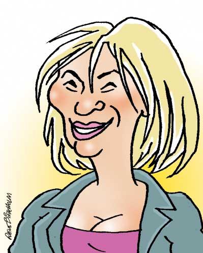Karikaturtegning af politiker Lene Espersen. Illustration René Birkholm