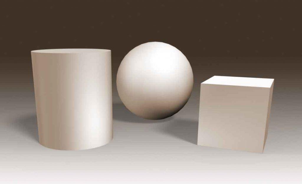 Cylinder, kasse og kugle. Illustration René Birkholm.