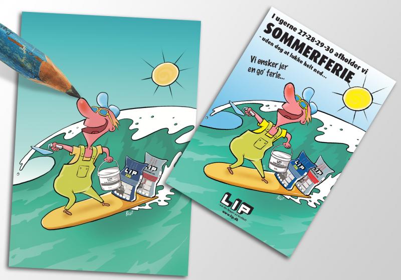 Firmakort illustration af tegner Rene Birkholm alias rebi tegneren.dk danmark fyn Munkebo