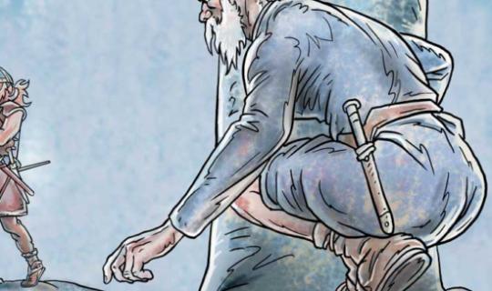 Historisk illustration fra vikingetiden af Rene Birkholm alias rebi tegneren.dk