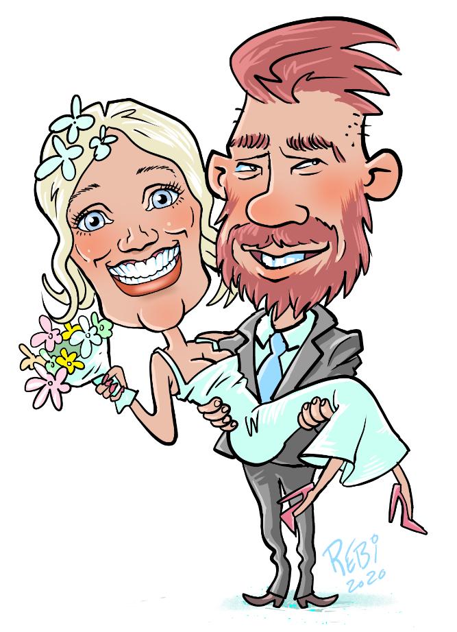 Bryllupstegning af Rene Birkholm alias rebi tegneren.dk